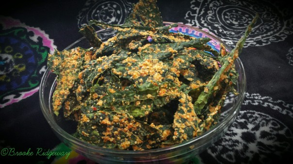 Raw Cheesy Roasted Red Pepper Kale Chips